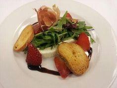 Baby Arugula, Prosciutto di Parma, House Made Lemon Ricotta, Compressed Strawberries, Crostini, Balsamic