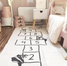 Baby figure Number Checker New Funny Floor Bed Sofa Play Mats Kids Toddler Blanket Cover Developing Carpet tapis lapin Cushion Playroom Decor, Nursery Decor, Boy Decor, Playroom Ideas, Nursery Bedding, Room Ideias, Hopscotch Rug, Blanket Cover, Floor Rugs