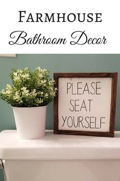 Good ol' bathroom humor! Please seat yourself wood sign #farmhouse sign#rustichomedecor#afflink#bathroomsign#bathroomdécor#farmhousedecor#bathroom