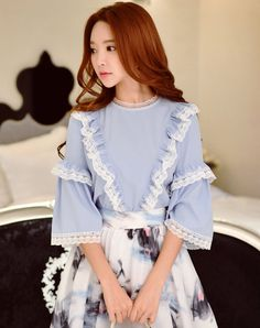#VIPme Blue Lace Bell Sleeve Loose Blouse ❤️ Get more outfit ideas and style inspiration from fashion designers at VIPme.com.