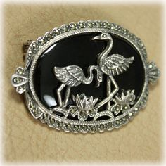 Vintage 925 Sterling Silver Marcasite Onyx Brooch Pin