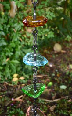 Glass Rain Chain, 8 foot glass waterfall feature, multi-colored repurposed yard art, water collection, garden watering, gutter, downspout