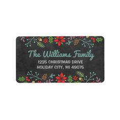 Holiday Florals | Chalkboard Return Address Label