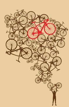 Items op Etsy die op 11 x 17 Illustrated Stacked Bikes Print lijken Bicycle Tattoo, Bicycle Art, Rotulação Vintage, Bike Design, Design Art, Velo Biking, Bicycle Illustration, Bike Poster, Bike Shirts