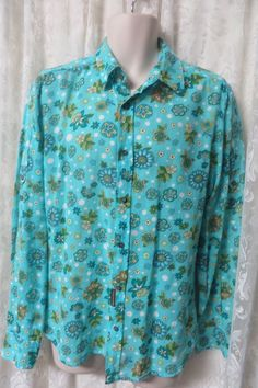 D & G DOLCE & Gabanna Blue/Green Floral Semi Sheer Shirt NEW Large Cotton #DolceGabbana #ButtonFront