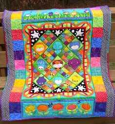 Bright Animals Quilt, from panel