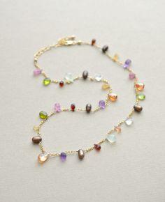 Artisan Made Gemstone Necklace, Multi Gemstone Briolettes, Garnet Topaz Sapphire Peridot, Gold Fill, Delicate 18 Inch