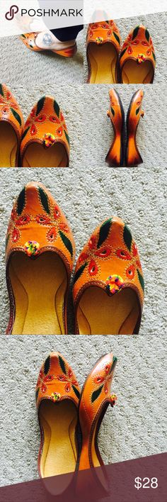 New! Hand Painted Leafy Shoes New Collection! Medley of beautiful colors. Hand painted leaves and flowers with Pom Pom. Tend to expand a bit after 3-4 wears.Super Comfy!  In India, we call these 'jutti'. Shoes Flats & Loafers