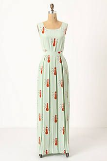"RARE Anthropologie Charlotte Taylor Silk Fire Ants Maxi - Sz. 2 - $140 Worn 3 times and dry cleaned only.  Measurements 17"" Bust, 14.5"" Waist, 57"" Length"