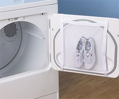 The sneaker wash and dry bag will keep every sneaker in your closet looking brand new. The sturdy mesh bag keeps the shoes separated from clothes during washes and conveniently hangs on the door of front loading dryers so they don't bounce around.