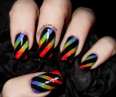 Rainbow Nails  here are my rainbow nails for day 9 I started with a coat of white, I used Ivory Skull from Sally Hansen. Then I used these polishes for the gradient, Illamasqua – Poke China Glaze – Frostbite Sinful Colors – Happy Ending Maybelline – Electric...