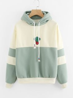 ROMWE Drawstring Color Block Cactus Embroidered Hoodie 2018 Spring Autumn Long Sleeve Ladies Casual Sporty Pullovers Sweatshirt - All About Hoodie Sweatshirts, Pullover Hoodie, Sweater Hoodie, Hoody, Cute Hoodie, Long Hoodie, Trendy Hoodies, Cool Hoodies, Girls Hoodies