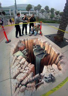Art: 3 Dimensional Sidewalk Chalk Art
