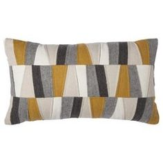 Room Essentials™ Felt Patches Decorative Pillow - Gold 19.99 In Stock Duluth Target Two Gray Pillows and this one on bed.