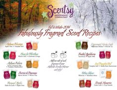 "Scentsy Fall/Winter 2014 Scent ""recipes"" Like It? Order it! Love it? Host a Party! Want it all? Join My Team! https://lindseyak.scentsy.us/"