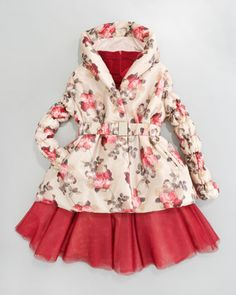 Belted Floral Coat & Tulle-Skirt Dress by Monnalisa at Neiman Marcus.