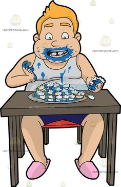 A Man Eating A Plate Full Of Facebook Likes :  A chubby man with blonde hair wearing a white sleeveless tank top dark blue short pink slippers sitting on a red chair behind a brown desk messily munching on plate full of Facebook like symbols  The post A Man Eating A Plate Full Of Facebook Likes appeared first on VectorToons.com.