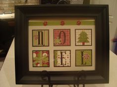Christmas framed art using the same basic frame throughout the year and rotating out seasonal pictures.