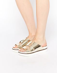 Call It Spring Alzerina Gold Cross Front Flat Sandals saved by #ShoppingIS
