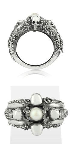 UGO CACCIATORI -    Light Pearl Foliage & Skulls Sterling Silver Bracelet