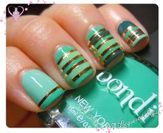 Striping Tape mani with @Andrea / FICTILIS Lambert NYC polishes - Teal Magnolia, Lady Liberty and Tavern On The.