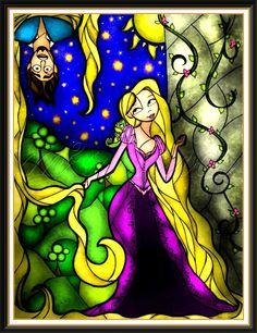 Rapunzel gets Tangled-up in this stained-glass-style artwork from artist Mandie Manzano, one of many Disney-themed pieces Disney Rapunzel, Rapunzel Y Flynn, Disney Amor, Rapunzel And Eugene, Disney Pixar, Disney Characters, Disney Princesses, Disney Fan Art, Disney Girls