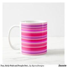 Fun, Girly Pink and Purple Stripes Pattern Custom Mugs, Purple, Pink, Tea Cups, Coffee Mugs, Girly, Stripes, Tableware, Pattern
