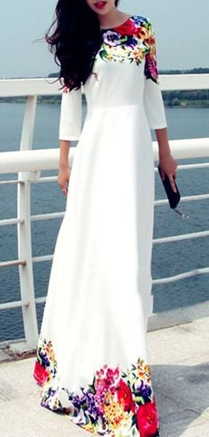 Round Collar 3/4 Sleeve Floral Print Maxi Dress