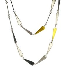 Sterling Silver Layered with Blackened Silver and 24K Gold, Teardrop Necklace by GURHAN