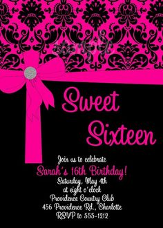 Hot Pink Black Damask Print Sweet Sixteen Party Invitation, Cutie Patootie Creations  www.cutiepatootiecreations.com
