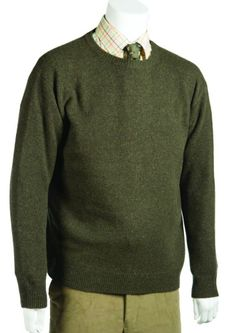 6c6b8ce4a4efb9 Country knitwear · Gentlemans long sleeve crew neck sweater with raglan  sleeves and welted cuff and hem 100 Lambs