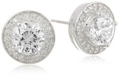 Sterling Silver Simulated Diamond Round Halo Stud Earrings - http://www.wonderfulworldofjewelry.com/jewelry/earrings/sterling-silver-simulated-diamond-round-halo-stud-earrings-com/ - Your First Choice for Jewelry and Jewellery Accessories