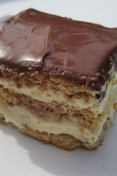 This eclair cake is a quick and easy cake recipe! Bake the best cake using vanilla pudding mix, whipped cream, graham crackers, and chocolate frosting. You will love baking this delicious version of the classic French pastry for dessert!