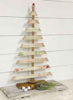 Recycled Wood Slat Tabletop Tree