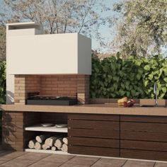 Garden Grills - Course on Home Organization and Interior Decorating - Decor Scan : The new way of thinking about your home and interior design Outdoor Barbeque, Pizza Oven Outdoor, Outdoor Cooking, Design Barbecue, Barbacoa Jardin, Parrilla Exterior, Bbq Shed, Modern Outdoor Kitchen, Backyard Bbq