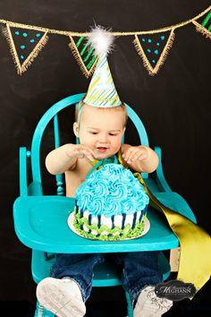 cutie patootie 1st birthday boy smash cake/matching hat. @Meghann Miller photography