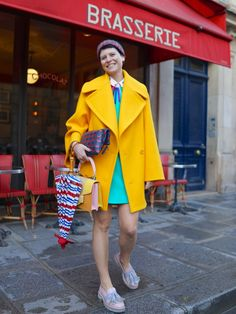 Elisa bringing the colour! fab. Paris. #ElisaNalin