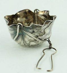 Shiebler leaf form tea infuser in sterling silver: Tea Strainer, Tea Infuser, Buy Tea, Tea Caddy, Tea Art, Tea Service, Tea Accessories, Vintage Tea, Tea Time