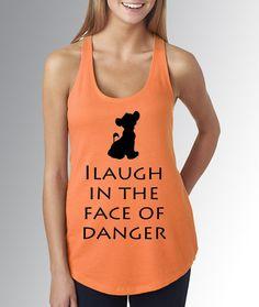 Simba Lion King I Laugh in the Face of Danger * Orange Tank Top * Jersey Top * Disney Running Shirt * RunDisney * Run Disney * Racerback