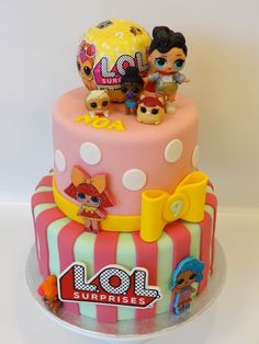 Have fun with a LOL cake - birthday Cake White Ideen Doll Birthday Cake, Funny Birthday Cakes, 7th Birthday, Matilda Cake, Surprise Party Decorations, Lol Doll Cake, Surprise Cake, Bolo Cake, Beautiful Birthday Cakes