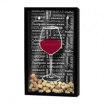 Quadro porta-rolhas de garrafas de vinhos - 100 rolhas - Estilos de vinhos