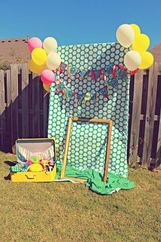 Photo Booth at a Circus Party with So Many Cute Ideas via Kara's Party Ideas | KarasPartyIdeas.com #CarnivalParty #Circus #PartyIdeas #PartySupplies #photobooth