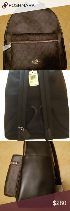 bc6ad5aae8 Coach backpack Charlie pebble Signature black and Brown Coach Bags Coach  Purses