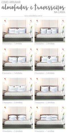 Decoração: 3 dicas arrumar a cama como de capa de revista! Guest Bedroom Decor, Bedroom Bed Design, Home Bedroom, Bedroom Designs, Modern Bedroom, Bed Pillow Arrangement, Home Design Living Room, Bed Styling, New Room
