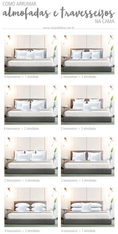 Decoração: 3 dicas arrumar a cama como de capa de revista! Home Design Living Room, Bed Decor, Bedroom Interior, Bedroom Makeover, Master Bedrooms Decor, Bed Interior, Bedroom Bed Design, Bedroom Decor, Bedroom Pillows Arrangement