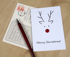 Rudolf, the button nosed reindeer. Hand-made postcard from Imelda Green's