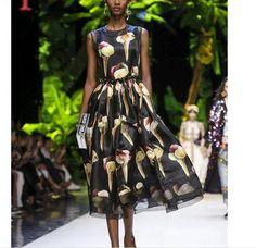 New Occident runway fashion ice cream cone printed bead women's knee dress SMLXL | eBay
