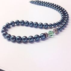 Handmade from exotic Tahitian green crystal pearls and vintage bottle green crystals. This necklace is perfect for bridal jewelry,and other special occasions Crystal Jewelry, Crystal Necklace, 15th Wedding Anniversary Gift, Jewelry Stores, Bridal Jewelry, Exotic, Jewelry Design, Pearls, Crystals