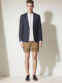 Men's Navy Blazer, White Long Sleeve Shirt, Tan Shorts, Black Leather Derby…