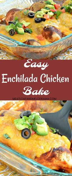 Easy Enchilada Chicken Bake - A quick and easy one dish dinner that takes 30 minutes to make! It's a low carb version of everyone's favorite chicken enchiladas! from Meatloaf and Melodrama